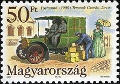 First Hungarian Mail Vehicle, centenary Postage Stamps, Hungary, Automobile, Culture, Portrait, Seals, Train, Cars, Car
