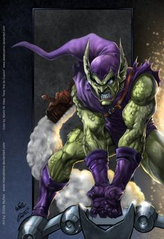 Green Goblin by Eddie Nunez & Martin Tena Comic Book Villains, Marvel Villains, Comic Book Heroes, Comic Book Characters, Marvel Characters, Comic Character, Comic Books Art, Comic Art, Book Art