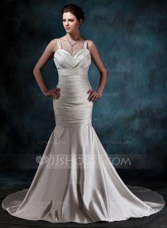 Wedding Dresses - $167.99 - Mermaid Sweetheart Chapel Train Satin Wedding Dress With Ruffle (002001189) http://jjshouse.com/Mermaid-Sweetheart-Chapel-Train-Satin-Wedding-Dress-With-Ruffle-002001189-g1189