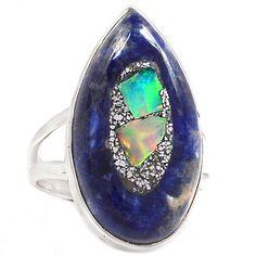 Ethiopian Opal In Sodalite 925 Sterling Silver Ring Jewelry s.8.5 SR188036 | eBay