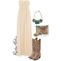"""""""Someone Like You"""" by rodeo-chic on Polyvore, maxi dress with cowboy boots, turquoise jewelry"""