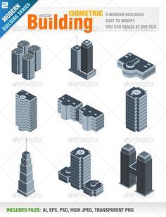 Modern Isometric Buildings $5.00