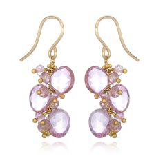 Pink Topaz and Quartz Cluster Earrings - Artisan Design Gallery