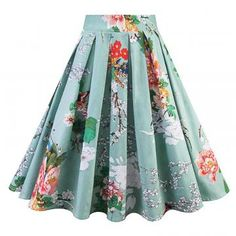Vintage Woman Retro Red Rose Flower Bouquet Floral Print High Waist Midi Skirts KneeLength Long Saia Ladies Skirt Size S Color strawbreey skirt Floral Vintage, Vintage Skirt, Retro Vintage, Audrey Hepburn, Rockabilly, Pleated Skirt, High Waisted Skirt, Pin Up, Red Rose Flower