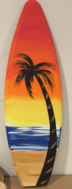 Items similar to wood hawaiian tropical surfboard hand painted sunset palm tree beach scene art decor sign Sale price while supply lasts on Etsy Surfboard Painting, Surfboard Decor, Surfboard Drawing, Palm Tree Sunset, Palm Trees Beach, Diy Painting, Painting On Wood, Palm Tree Crafts, Palm Tree Background