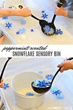 Love this fine motor snowflake winter sensory bin for toddlers! #kids #kidsactivities #sensorybin #sensoryplay #toddlers #preschool #prek #wintersensorybin #sensorybinideas