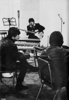 John, Paul and George at EMI Studios during the Rubber Soul sessions, 1965. Scan from Beatles Book Monthly No. 312.