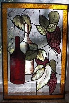 Wine Bottle Grapes and leaves window by ArbutusGlass on Etsy, $250.00