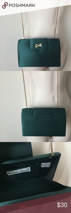 Green Satin Clutch Cross body purse Green Satin Clutch Cross body small purse with crystal bow. Gold chain stephanie  Bags Crossbody Bags