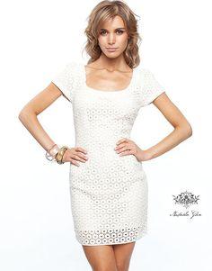Natasha Gan White Lace Shift Dress $137.40