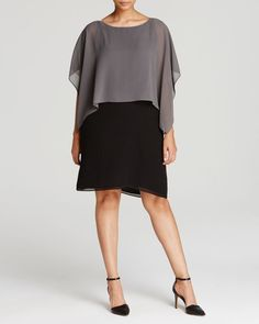 Eileen Fisher Plus Silk Overlay Dress