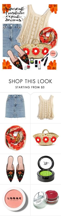 """Orange Accents"" by juliehooper ❤ liked on Polyvore featuring Topshop, Chicwish, Modena, Muzungu Sisters, Alberta Ferretti, Beauty Is Life, LORAC, denim, orange and crochet"