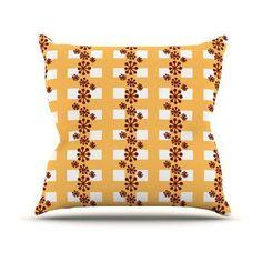 Kess InHouse Jane Smith Mushroom Repeat Indoor/Outdoor Throw Pillow - JS1027AOP04