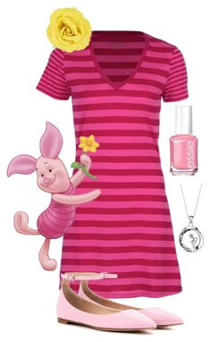 """Piglet"" by lemonsourpatchkid ❤ liked on Polyvore featuring Essie, Icebreaker, Gianvito Rossi, Disney, disney, disneybound, winniethepooh and piglet"