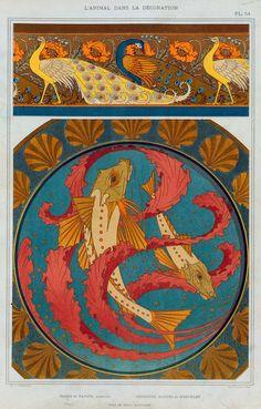 Paons et pavots, bordure. Grondins, algues et coquilles, plat en émail cloisonné. ([1897])