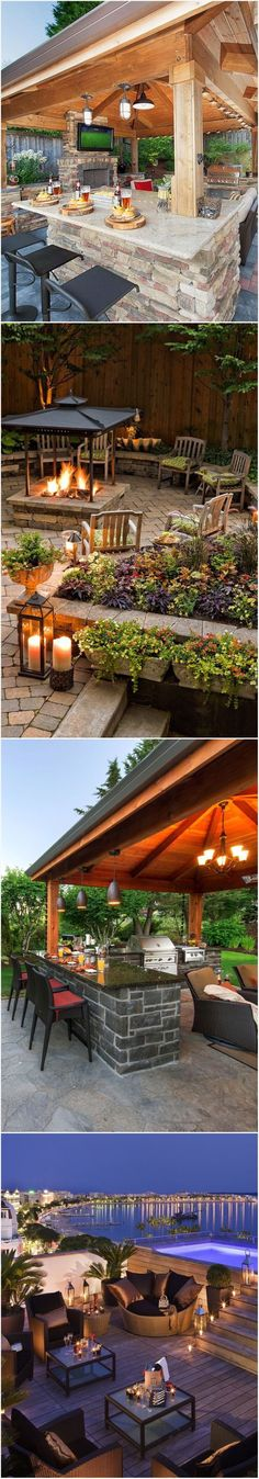 Future home: Outdoor Kitchen Ideas / Outdoor Living Space / Outdoor Bar Ideas - The roof lines need to extend out over (and past) the seats at the bars! Outdoor Rooms, Outdoor Gardens, Outdoor Living, Outdoor Decor, Outdoor Kitchens, Outdoor Sheds, Rustic Outdoor, Outdoor Kitchen Design, Patio Design