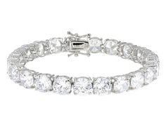 Time to shine! - Bella Luce (R) 76.12ctw Diamond Simulant Round Rhodium Over Sterling Silver Bracelet (44.88ctw Dew)