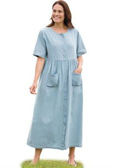 Dress with empire waist in denim | Woman Within | size 32 | Bleach Dot