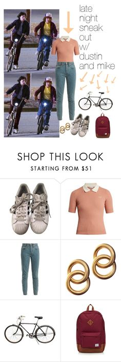 """""""stranger things"""" by strangerprefrences ❤ liked on Polyvore featuring adidas, RED Valentino, RE/DONE, Laura Lombardi, Schwinn and Herschel"""