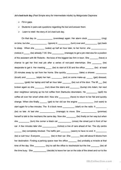 Jo's bad luck day - English ESL Worksheets for distance learning and physical classrooms Grammar Worksheets, Teaching Jobs, Reading Skills, Esl, English Language, Vocabulary, Physics, How To Memorize Things, Student