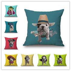 Decorative Puppy Bulldog Cushion Pillow Cover