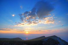 Extremely beautiful sunrise on Mount Olympus