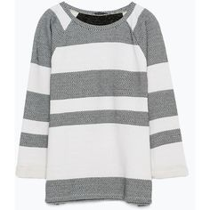 Zara Striped Sweatshirt (110 SAR) ❤ liked on Polyvore featuring tops, hoodies, sweatshirts, zara top, sweatshirts hoodies, white sweatshirt, white sweat shirt and sweat shirts