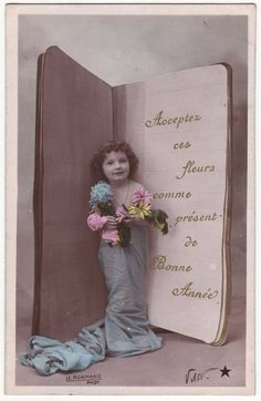 French postcard - Little girl in blue sheet with book card - Romantic tinted belle epoque photo postcard - New year RPPC - 1907 (A679):