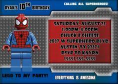 Spiderman Birthday Invitations | Kustom Kreations Spiderman Birthday Invitations, Lego Spiderman, Kustom, 3rd Birthday, Rsvp, Messages, 3 Year Olds, Text Posts