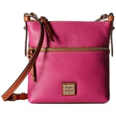 Dooney & Bourke Pebble Letter Carrier (Magenta/Tan Trim) Cross Body... ($168) ❤ liked on Polyvore featuring bags, handbags, shoulder bags, leather cross body purse, pink leather purse, leather handbags, crossbody purse and leather crossbody purses