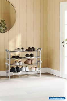 An instant upgrade for closets, this sturdy shoe rack is also stylish enough to display in an entryway or mudroom. Its simplified design fits neatly against walls. Horizontal steel rods can hold up to nine pairs of shoes. Whether you need to maximize wardrobe space or provide a landing area for footwear in an entryway, this shoe rack is an easy solution.