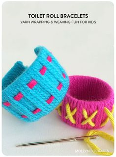 I have lots of scrap yarn, going to make Ella some! toilet roll crafts for kids, toilet roll bracelets, simple yarn wrapping and weaving fun for kids Yarn Crafts For Kids, Crafts To Do, Easy Crafts, Arts And Crafts, Children Crafts, Toilet Roll Craft, Toilet Paper Roll Crafts, Kids Toilet, Sewing For Kids