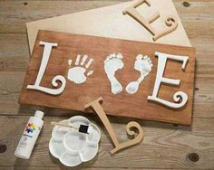 Baby Handprint & Footprint Love Wood Sign Craft...these the BEST Hand & Foot Art Ideas!