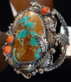 Gorgeous Navajo-Anglo Stainless Turquoise Coral Cuff.  Huge stone!  Check them out at The Corner Shoppe, 27 Calendar Ave, LaGrange, IL 708-579-2425