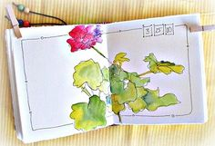 Geranium watercolor journal page ...love the border and date. !!