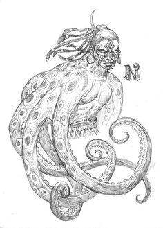 Na Kika    The Octopus God of Micronesian mythology (specifically the Gilbert Islands) was the son of the primeval creator gods Na Atibu and Nei Teukez - and his many arms proved indispensable in pulling together all the billions of tons of sand and rock to build the archipelagos of the South Pacific.  That is a lot of work, man.