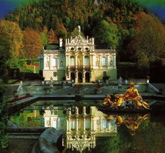Linderhof Palace, Bavaria, Germany is the smallest of the three palaces built by King Ludwig II. The palace is much smaller than Versailles, but the French palace was clearly the inspiration for Linderhof. Places Around The World, Oh The Places You'll Go, Places To Travel, Places To Visit, Around The Worlds, Palaces, Wonderful Places, Beautiful Places, Linderhof Palace