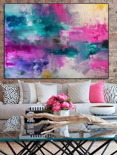 Abstract Pink Blue teal Print from original painting Large