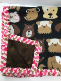 Double fleece Dogs with Duo Tone Brown Backing, Neopolitan Trim, 28x28 Crochet Edge Fleece Blankets, B28D-2 by MonaSewingTreasures on Etsy