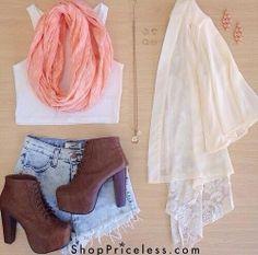 #wornshort #brownboots #whitetshirt #coralscarf #creamshirt #accesories
