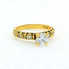 "ALEX SEPKUS Ring, ""Circle"" Size 6 18ky Gold- Side diamonds approx 0.15ct tw. (6 Dia).Center Stone Should Be 5.5-6.5mm Round. 30"