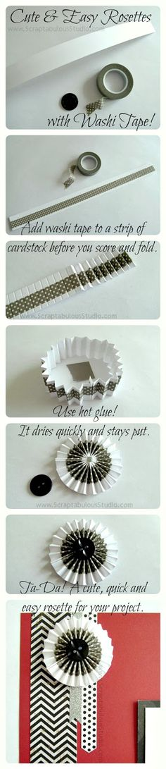 "TUTORIAL ... by Gloria Rogers...Washi Tape Rosettes!  A 1"" by a full 12"" long. The trick is that you actually need two identical strips of paper to make a full circle. Score each strip every 1/4"" and then accordion fold them. Attach one to the other to make a long strip and then join them again for a circle. I also made this circle with only 1 strip of paper."