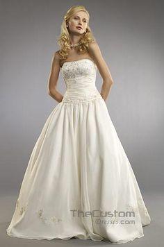 A-line Strapless Chapel Organza Wedding Dresses 10605064