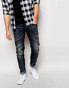 d7a679fd28e93 Diesel Jeans Sleenker 843Q Skinny Fit Stretch Dark Wash Distressed
