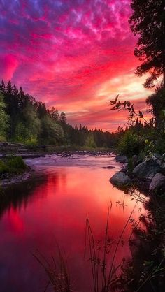 The Vivid Color of Sunset and Sky! The sunset above the Sandy River near Mount Hood Oregon - Affected by the smoke in the sky from the Central Oregon forest fires.