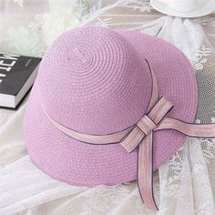 Lady Boater sun caps Ribbon Round vaulted Top Straw Panama Hat