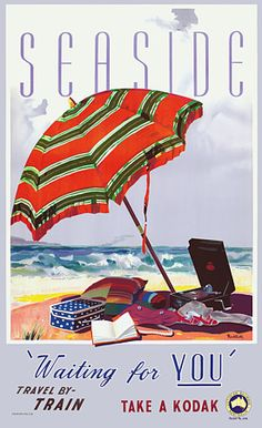 Seaside by James Northfield - Australian Vintage Posters - Travel Posters Retro Poster, Poster Ads, Poster Prints, Poster Vintage, Art Prints, Vintage Advertisements, Vintage Ads, Australian Vintage, Tourism Poster