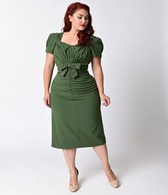 Cease Staring! Plus Measurement Olive Brief Sleeve Verde Wiggle Gown...