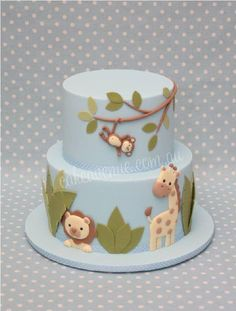 Baby Blue Cake with Beige & Green Animals and Leaves