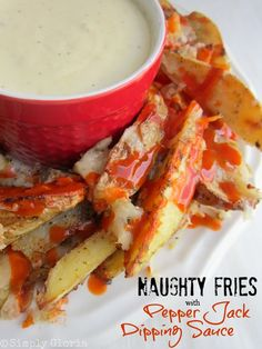 Naughty Fries (Baked) with Pepper Jack Dipping Sauce - SimplyGloria.com